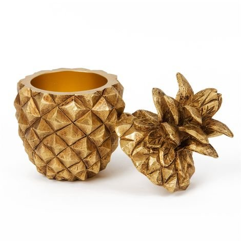 Home Living Resin Golden Pineapple Storage Pot
