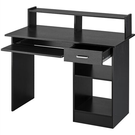 Home Office Computer Desk with Drawers Storage Shelf Keyboard Tray - Black