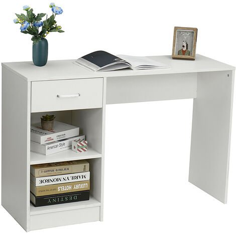 Home Office Desk 109x40x74cm Writing Table w/ Storage Shelves&Drawer Workstation