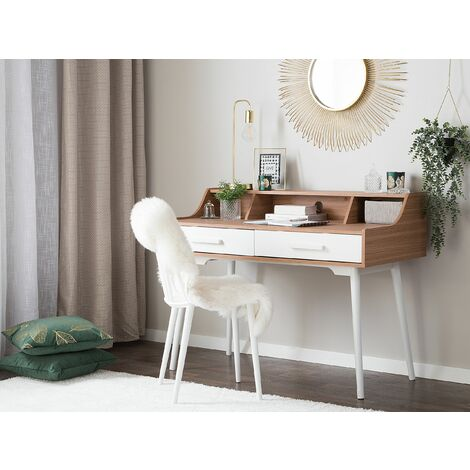 Home Office Desk 120 x 58 cm Light Wood with White ALLOA