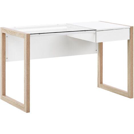 Home Office Desk 120 x 60 cm White with Light Wood JENKS
