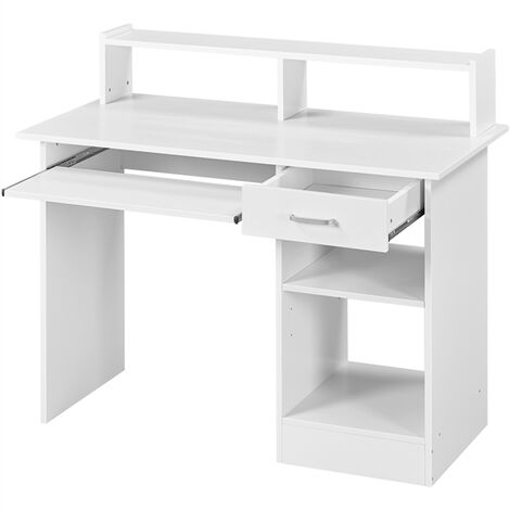 Home OfficeWhite Computer Desk with Drawers Storage Shelf Keyboard Tray