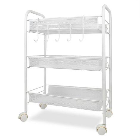 Home Organizer, Storage Trolley, 3 Tier, 77 x 48 x 27 cm (30.3 x 18.8 x 10.6 inch), White, Material: Iron