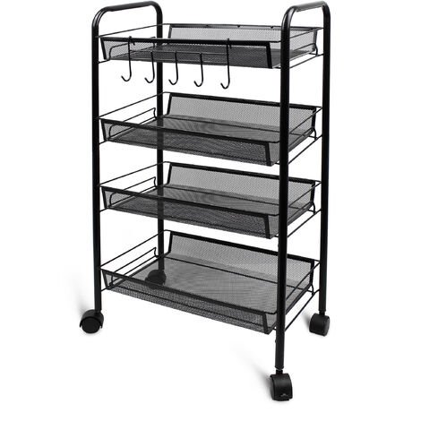 Home Organizer, Storage Trolley, 4 Tier, 83,5 x 46 x 27 cm (32.9 x 18.1 x 10.6 inch), Black, Material: Iron