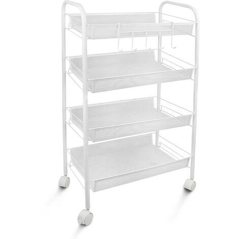 Home Organizer, Storage Trolley, 4 Tier, 83,5 x 46 x 27 cm (32.9 x 18.1 x 10.6 inch), White, Material: Iron