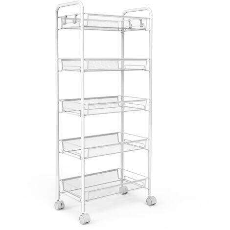 Home Organizer, Storage Trolley, 5 Tier, 104 x 46 x 27 cm (40.9 x 18.1 x 10.6 inch), White, Material: Iron