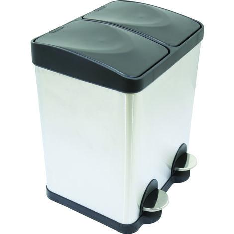 home - Poubelle à pédale - 2 compartiments - acier inoxydable - 30 L