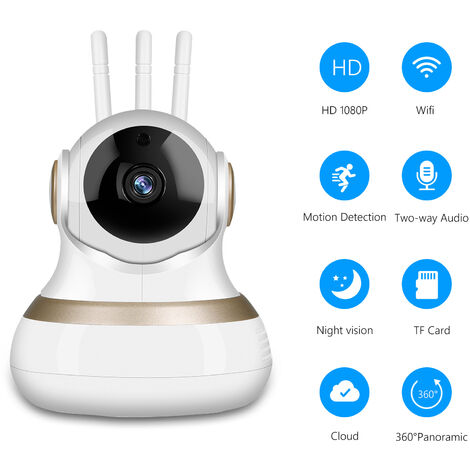 """main image of """"Home Security Camera 1080P Full High Definition Wireless Surveillance Camera Pan/Tilt Indoor Camera support Night Vision Remote Access Motion Detection Two-way Audio,model: UK Plug"""""""