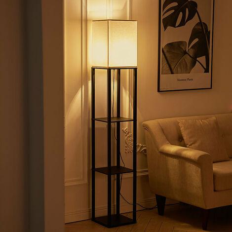 Home Shelf Floor Lamp Light 4 Tiered Shelves Storage Display Square