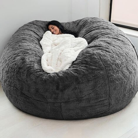 """main image of """"Home Sponge Bed Bean Bag Chair Cover Slipcover Double Bedroom Balcony Large Couch Round Soft Fluffy Cover No Fillings Only Cover"""""""