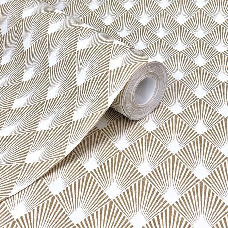 Home Style Diamond Motif Gold And Cream Wallpaper