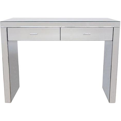 Home - Table style console à 2 tiroirs - verre effet miroir