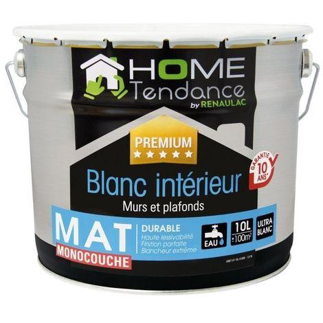 HOME TENDANCE PEINTURE MONOCOUCHE MURALE 10 L BLANC MAT HT-ZLM-ECO-00000-10L