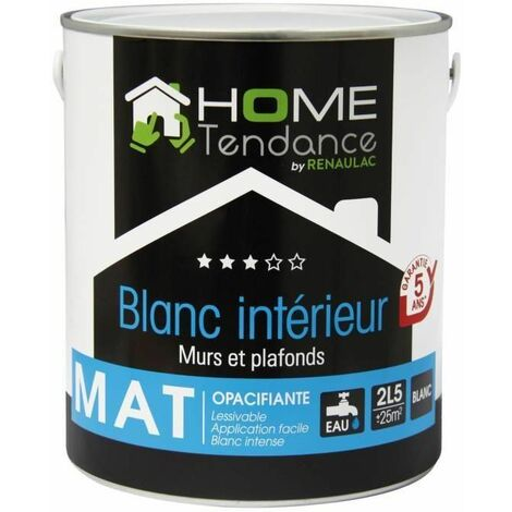 HOME TENDANCE Peinture murale 2,5 L blanc mat