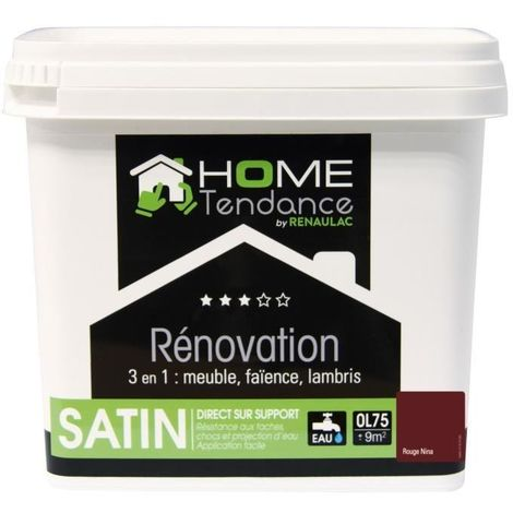 HOME TENDANCE PEINTURE RÉNOVATION MULTI-SUPPORTS 3 EN 1 0,75 L ROUGE NINA SATINÉ HT-R31S-00003-0L75