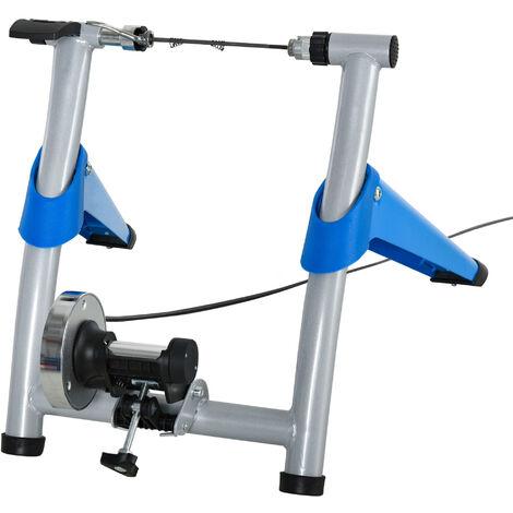 Home trainer vélo support d'entrainement pliable pour vélo de route VTT roues 26 à 29 pouces gris métal bleu