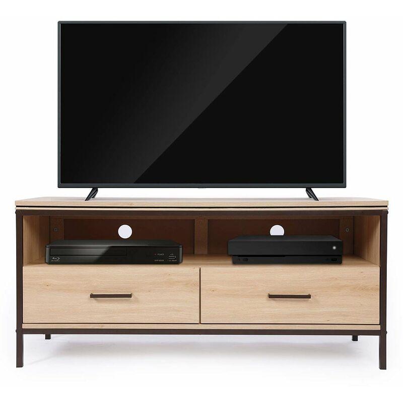 Sekey - Home TV-Schrank mit Metallgestell, Lowboard mit Schubladen,120 x 45 x 55 cm Holzoptik - Lintel Oak