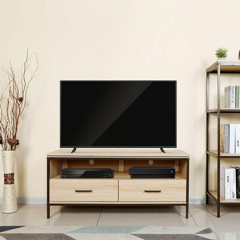 Home TV-Schrank mit Metallgestell, Lowboard mit Schubladen,120 x 45 x 55 cm Holzoptik - Lintel Oak