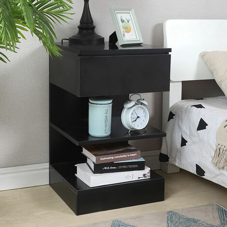 Home Wood Bedside Table with Drawer & Storage Shelves