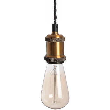 Home Works Hanging Industrial Brass Pendant Light (One Size) (Black/Brass)