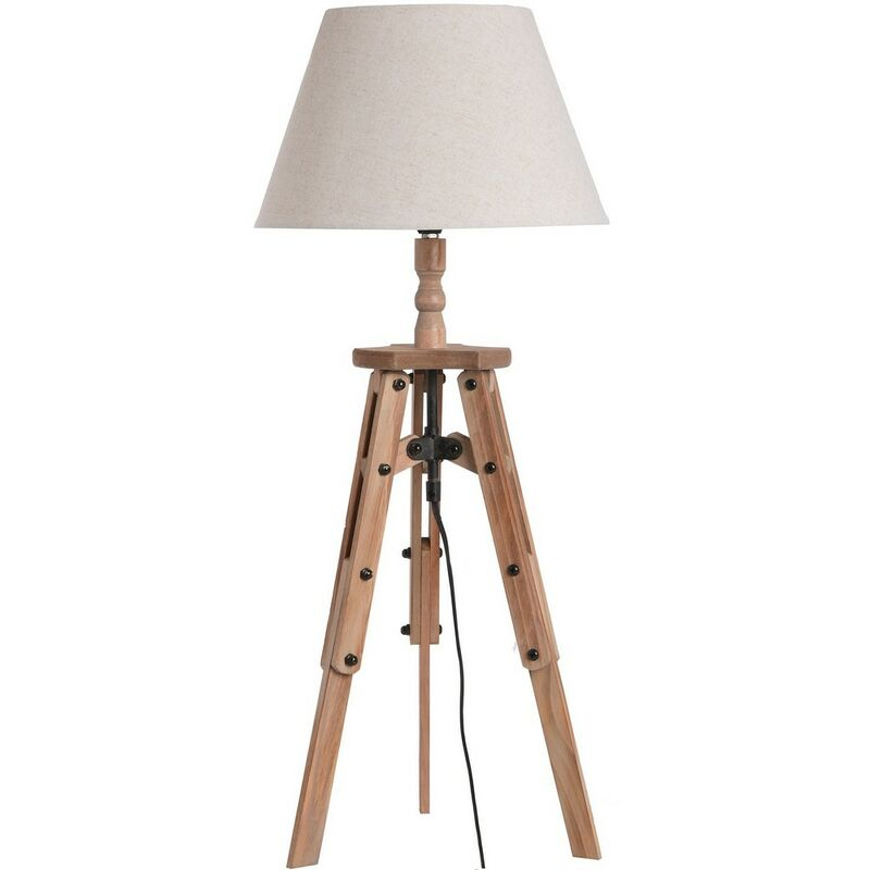 Image of Wooden Tripod Table Lamp (UK Plug) (One Size) (Brown) - Home Works