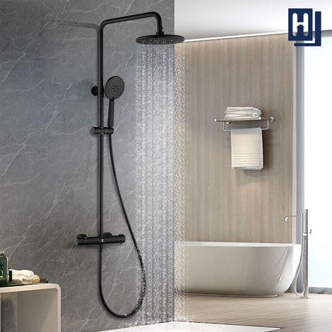 HOMELODY 40 ℃ columna de ducha negro de temperatura ducha de lluvia de 3 funciones barra de ducha 829-1221mm ajustable