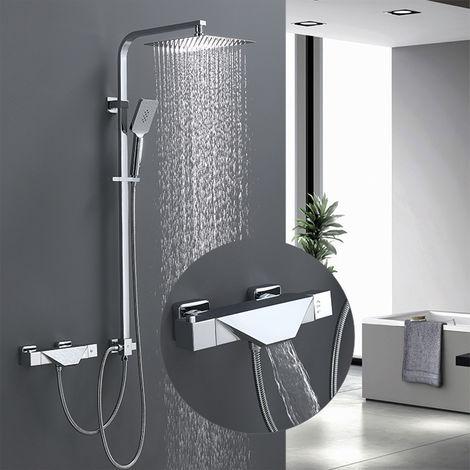 HOMELODY Columna de ducha termostática soft connection Altura Ajustable Columna de Ducha Acero Inoxidable para Bañera y Cuarto de Baño