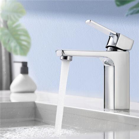 Homelody Grifo de baño Diseño de cuerpo de cobre duradero y grifo mezclador de lavabo ajustable en caliente y frío Adecuado para lavabo y lavabo de baño Diseño elegante