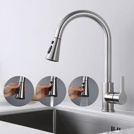 Homelody Grifo de cocina de acero inoxidable con 360 ° Grifo de cocina con 3 funciones Ducha Grifo