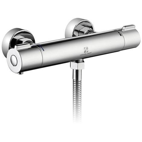 Homelody Grifo Termostático Ducha Termostato de ducha con el Botón de Seguridad 40 ℃ Termostato de Ducha Cromado 20-60 ℃