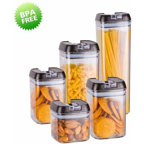 HOMELODY Juego de Recipientes Herméticos para Cereales 5 Piezas Distintos Tamaños Plástico sin BPA Transparente con 8*Etiquetas 1*Bolígrafo Contenedores de almacenamiento para Comida y Líquido