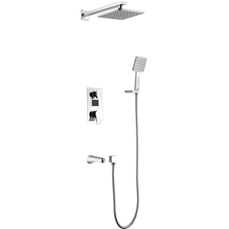 "HOMELODY LCD Digital Display Function Built in Flush Mounted Mixer Shower + 8"" Rain Shower Head + Hand Shower Head"