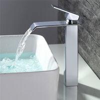 Homelody Robinet Salle de Bain Cascade Mitigeur de Lavabo Bec Haut Robinetterie pour Vasque Chromé Designe Moderne