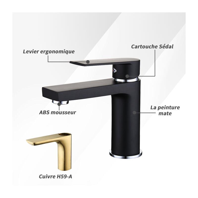 Homelody Robinet Salle De Bains Noir Mitigeur Lavabo En Laiton Robinet De  Lavabo Moderne   BST101019B