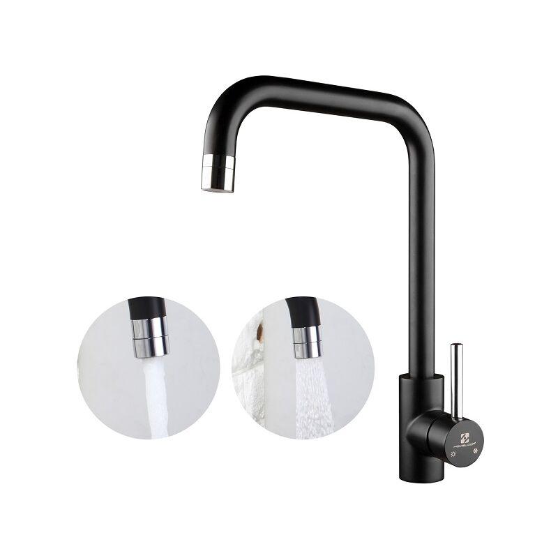 Homelody schwarz Küchenarmatur Wasserhahn küche 2 Funkionen ...