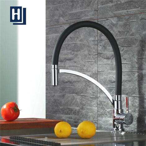 Charmant Homelody Schwarz Wasserhahn Küche Armatur 360° Drehbar Küchenarmatur Spüle  Mischbatterie Einhebel Spültischarmatur Spiralfederarmatur