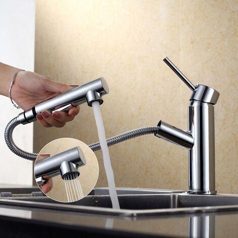 Homelody schwenkbar Wasserhahn Küche Armatur ausziehbar Küchenarmatur Spültischarmatur Mischbatterie aus Messing für Küchenspülen