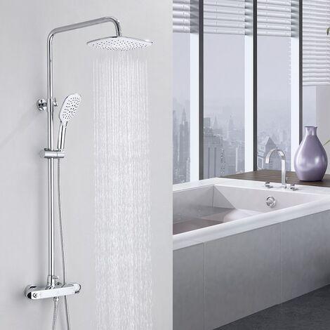 Homelody Set de ducha termostática de latón con ducha de mano con 3 funciones con Spray superior rectangular de 10 pulgadas