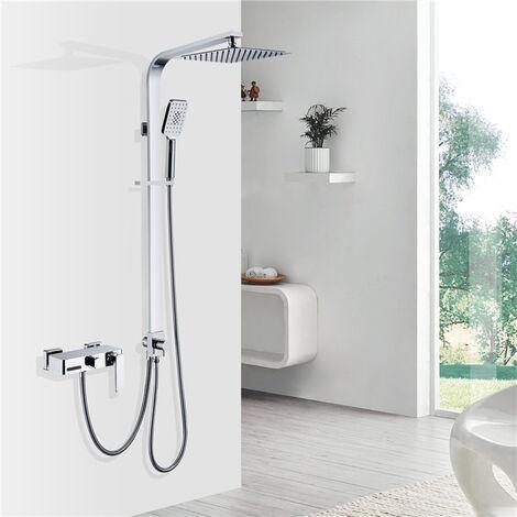 Homelody Sistema de ducha separable con panel de ducha de latón Accesorios de ducha Ducha de lluvia con válvula de drenaje de agua de 3 funciones Juego de ducha