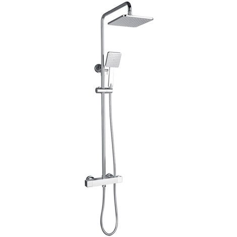 HOMELODY Square Thermostatic Mixer Shower Chrome with Rainfall Shower Head + Handheld Shower Head