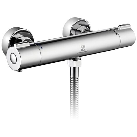 Homelody Thermostatic Shower Mixer Modern Thermostatic Bar Shower Mixer Valve Anti Scald Tap, Hot Cold Water Mixer Constant Temperature Control for Bathroom Chrome