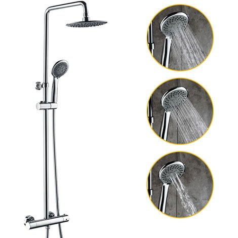 HOMELODY Thermostatic Shower Set Overhead Rainfall Shower Head + Shower Panel Chrome