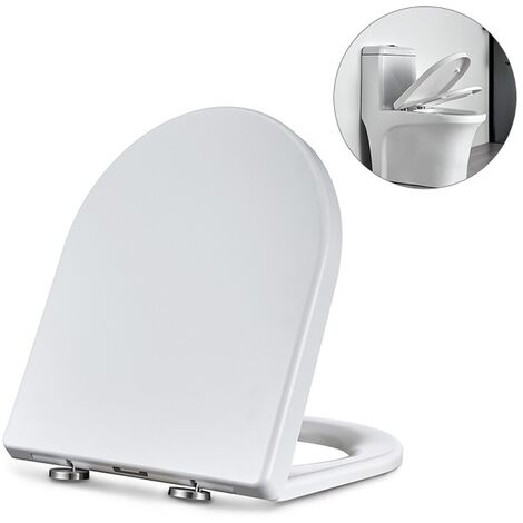 Homelody Toilettendeckel WC-Sitz mit Softclose Absenkautomatik D-Form Toilettensitz Antibakterielle PP Klobrille, Klodeckel Einfache Installation und Reinigung weiß WC Deckel Edelstahl-Befestigung
