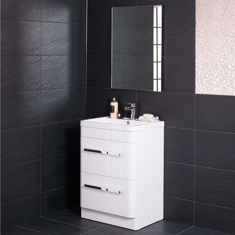 Homely White 600mm Vanity Unit & Basin with FREE Mirror