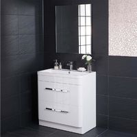 Homely White 800mm Vanity Unit & Basin with FREE Mirror