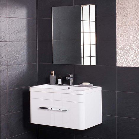 Homely White 800mm Wall Hung Vanity Unit & Basin with FREE Mirror