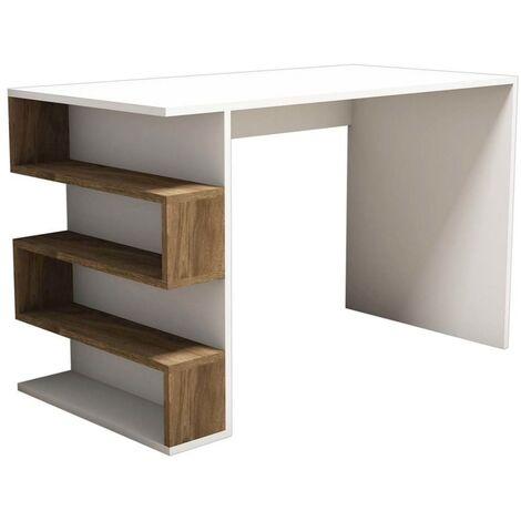 Homemania Computer Desk Limber 120x60x75 cm White and Walnut - Multicolour