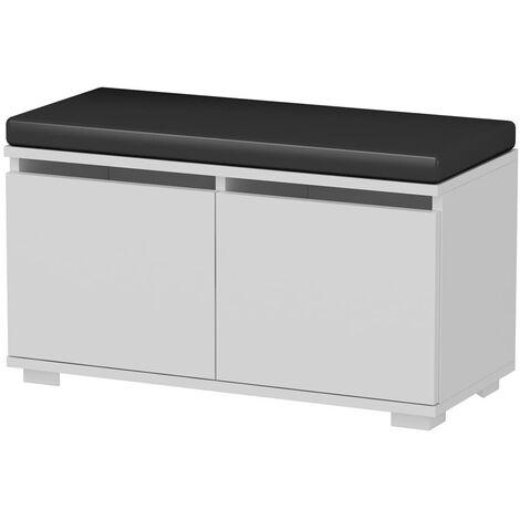 Homemania Shoe Cabinet with Pouf Drago 80x35x42cm White and Black - Multicolour