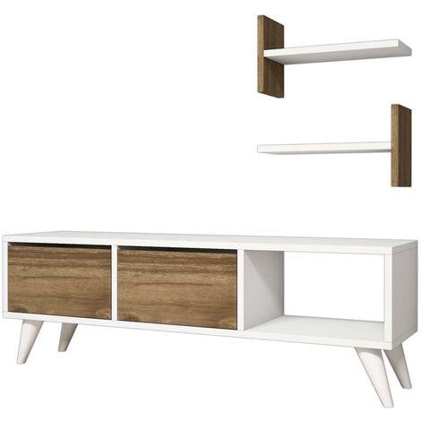 Homemania TV Stand Foxy 120x30x40 cm White and Walnut - Multicolour
