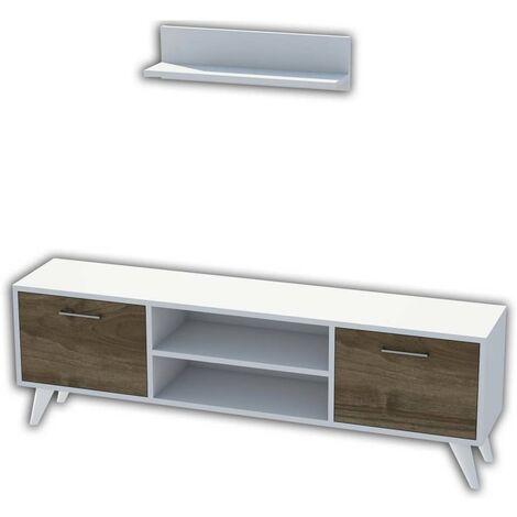 Homemania TV Stand Horus 120x30x48.6 cm White and Walnut - Multicolour